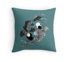 Koi Fish Yin Yang Throw Pillow