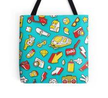 Teal Retro Street Urban Style Tote Bag