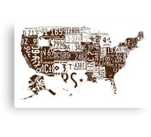 USA vintage license plates map Canvas Print