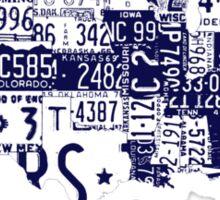USA vintage license plates map Sticker