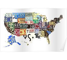USA vintage license plates map Poster
