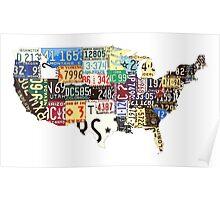 USA vintage license plates map Poster