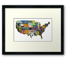 USA vintage license plates map Framed Print