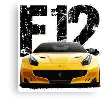 Sports Car F12 - Front words Canvas Print