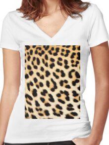 Cheetah print Women's Fitted V-Neck T-Shirt