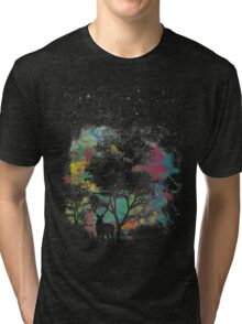 Forest walk spiritual visitor by night stars and colorful light Tri-blend T-Shirt