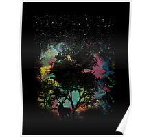 Forest walk spiritual visitor by night stars and colorful light Poster