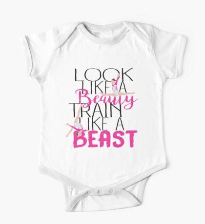 Look Like A Beauty Train Like A beast - Gymnastics Quote  One Piece - Short Sleeve