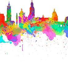Glasgow Art Watercolor art print of the skyline of Glasgow, Scotland, United Kingdom by chris2766