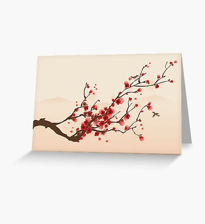 Whimsical Red Cherry Blossom Tree Greeting Card