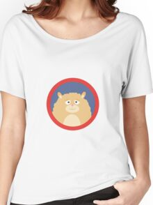 Cute fluffy Hamster with red circle Women's Relaxed Fit T-Shirt