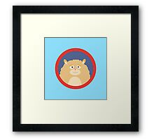 Cute fluffy Hamster with red circle Framed Print