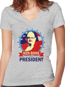 Ken Bone for President Women's Fitted V-Neck T-Shirt