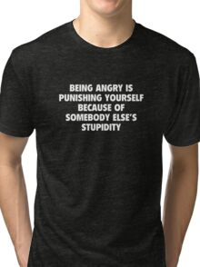 Being Angry Is Punishing Yourself Because Of Somebody Else's Stupidity Tri-blend T-Shirt