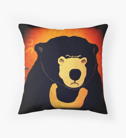 Sun Bear (Rustic) Throw Pillow