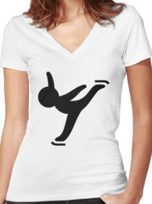 Figure / Ice Skating Women's Fitted V-Neck T-Shirt