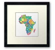 African Country Map Cloud Framed Print