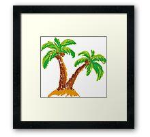 handmade drawing pastel chalks palm tree  Framed Print