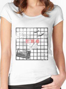 noir grid Women's Fitted Scoop T-Shirt