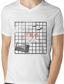noir grid Mens V-Neck T-Shirt