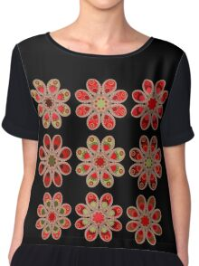 Bouquet of Roses Foot Flowers Chiffon Top