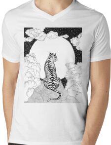 Tiger Moon Mens V-Neck T-Shirt