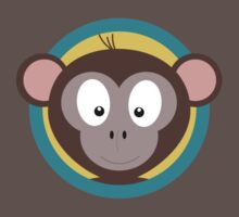 Cute Monkey Head with blue cirlce One Piece - Short Sleeve