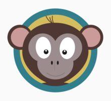Cute Monkey Head with blue cirlce Kids Tee