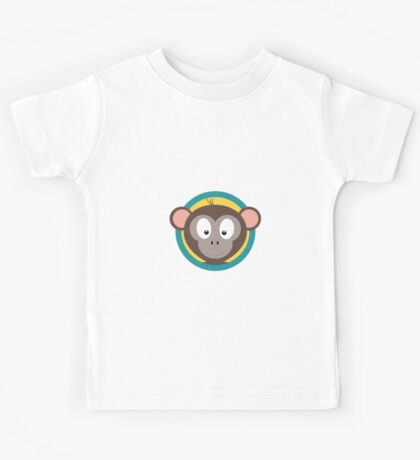 Cute Monkey Head with blue cirlce Kids Tee