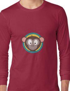 Cute Monkey Head with blue cirlce Long Sleeve T-Shirt
