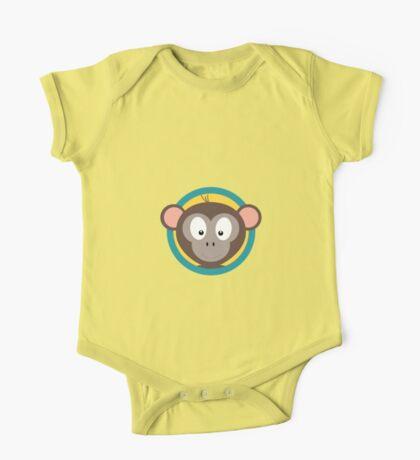 Cute Monkey Head with blue cirlce One Piece - Short Sleeve