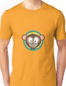 Cute Monkey Head with blue cirlce Unisex T-Shirt