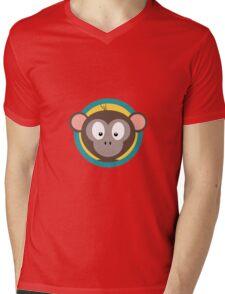 Cute Monkey Head with blue cirlce Mens V-Neck T-Shirt