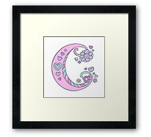 The letter C initial flower and hearts art Framed Print