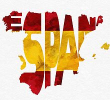 Spain Typographic Map Flag by A. TW
