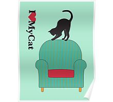 Cat on a turquoise armchair 3 Poster