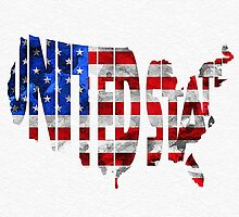 United States Typographic Map Flag by A. TW