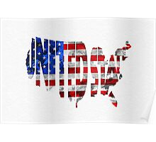 United States Typographic Map Flag Poster