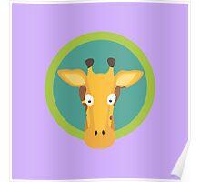 Giraffe head with green circle Poster