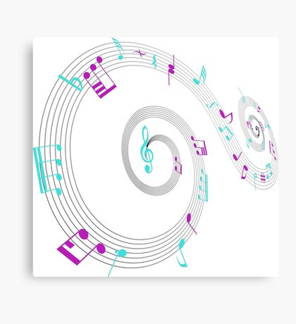 Music Notes Swirl Design Canvas Print