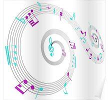 Music Notes Swirl Design Poster