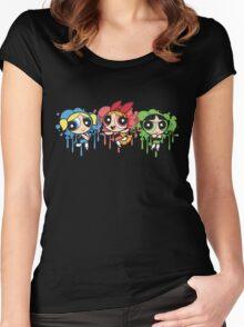 The PowerPuff Girls Paint Splatter Design Women's Fitted Scoop T-Shirt