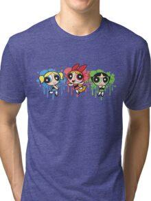 The PowerPuff Girls Paint Splatter Design Tri-blend T-Shirt