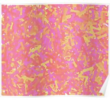 Pink and Red Abstract Paint Brushstrokes Poster