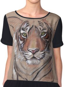 UNFINISHED BUSINESS - Original Tiger Drawing - Mixed Media (acrylic paint & pencil) Chiffon Top