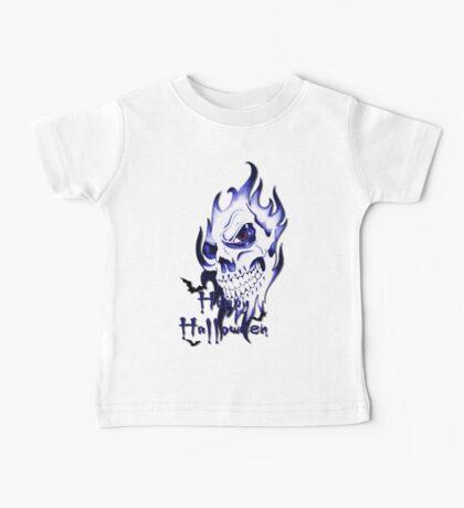 Happy Halloween, skeleton, skull, demonic eyes, face, bats 3 Baby Tee