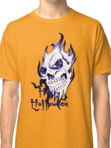 Happy Halloween, skeleton, skull, demonic eyes, face, bats 3 Classic T-Shirt