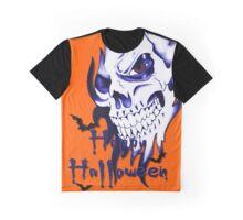 Happy Halloween, skeleton, skull, demonic eyes, face, bats 3 Graphic T-Shirt