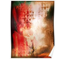 Abstract Painting Geometric Splash Red Green Brown Poster