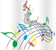 Colorful Music Notes on a Swirl Design Poster
